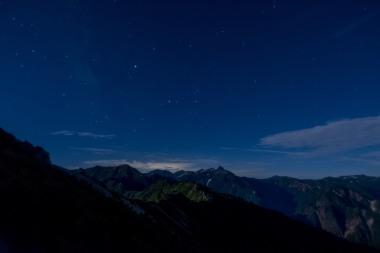 燕山荘から槍ヶ岳方面を望む